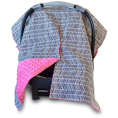 - 2 in 1 Carseat Canopy and Nursing Cover Up with Peekaboo Opening | Large Infant Car Seat Canopy for Girl | Best Baby Shower Gift for Breastfeeding Moms | Grey Herringbone Pattern and Hot Pink Minky