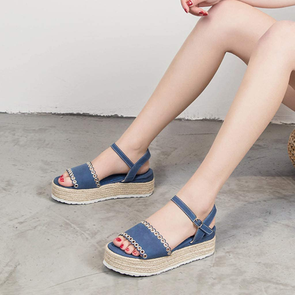 HHei/_K Womens Fashion Pure Color Peep-Toe Platforms Med Heel Shoes Casual Open Toe Buckle Strap Thick Bottom Sandals