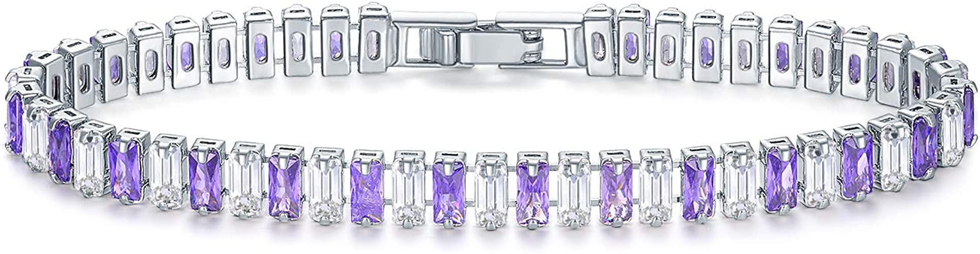EEPIRR Colorful Rectangle Shape AAA+ CZ Diamond TennisBracelet forWomen 18K White Gold Plates Bracelets Wedding Party GiftsJewelry
