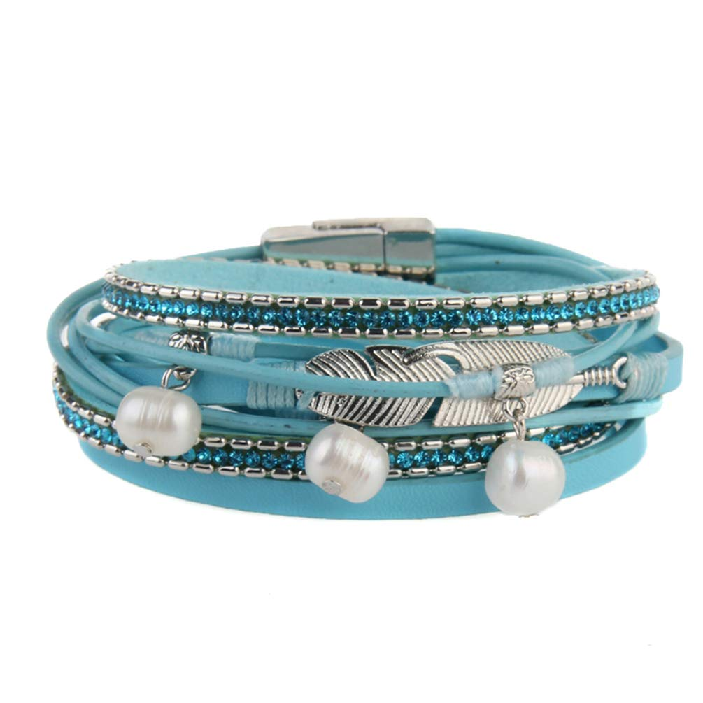 Beads Wristband for Girls Teens,Birthday Gift Rope Braided Cuff Bangle with Alloy Rhinestone Kelake Leather Multilayer Wrap Bracelet