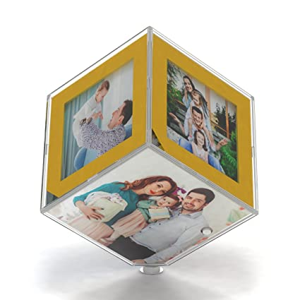 LED Transparent Rotating Photo GiftsOnn Frame And Cube With