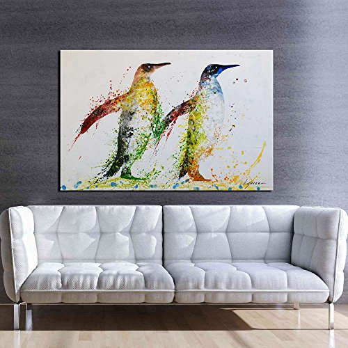 - ARTLAND Hand-painted Artwork 24x36-inch 'Penguin' Framed Animal Oil Painting on Canvas Wall Art Set for Living Room