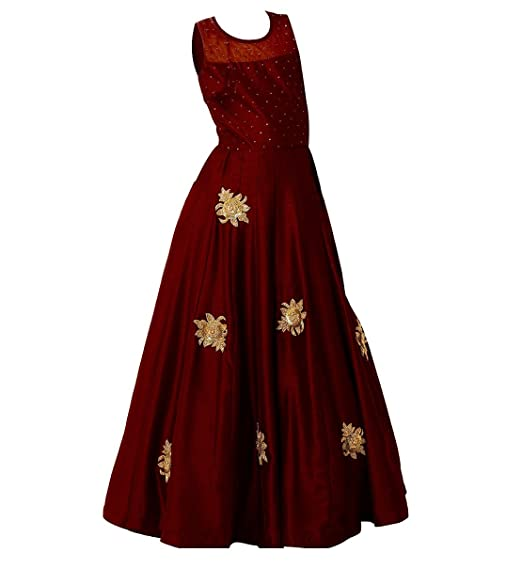 661019081fb2 White Button Girl s Latest Dark Maroon Banglori Silk Sequance ...