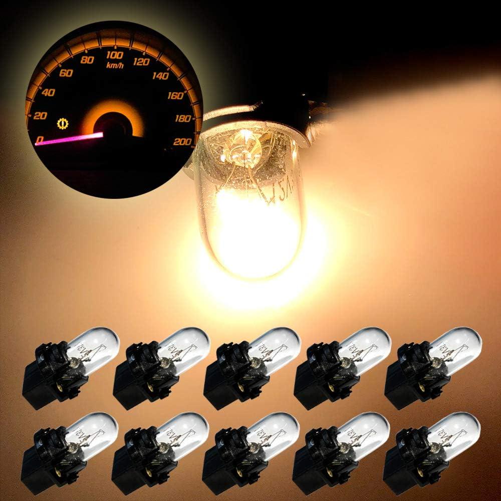 SCITOO 10Pcs T10 194 Dash Light Bulbs Warm White 168 Instrument Gauge Cluster Light Bulbs Speedometer Gauge Cluster Lights