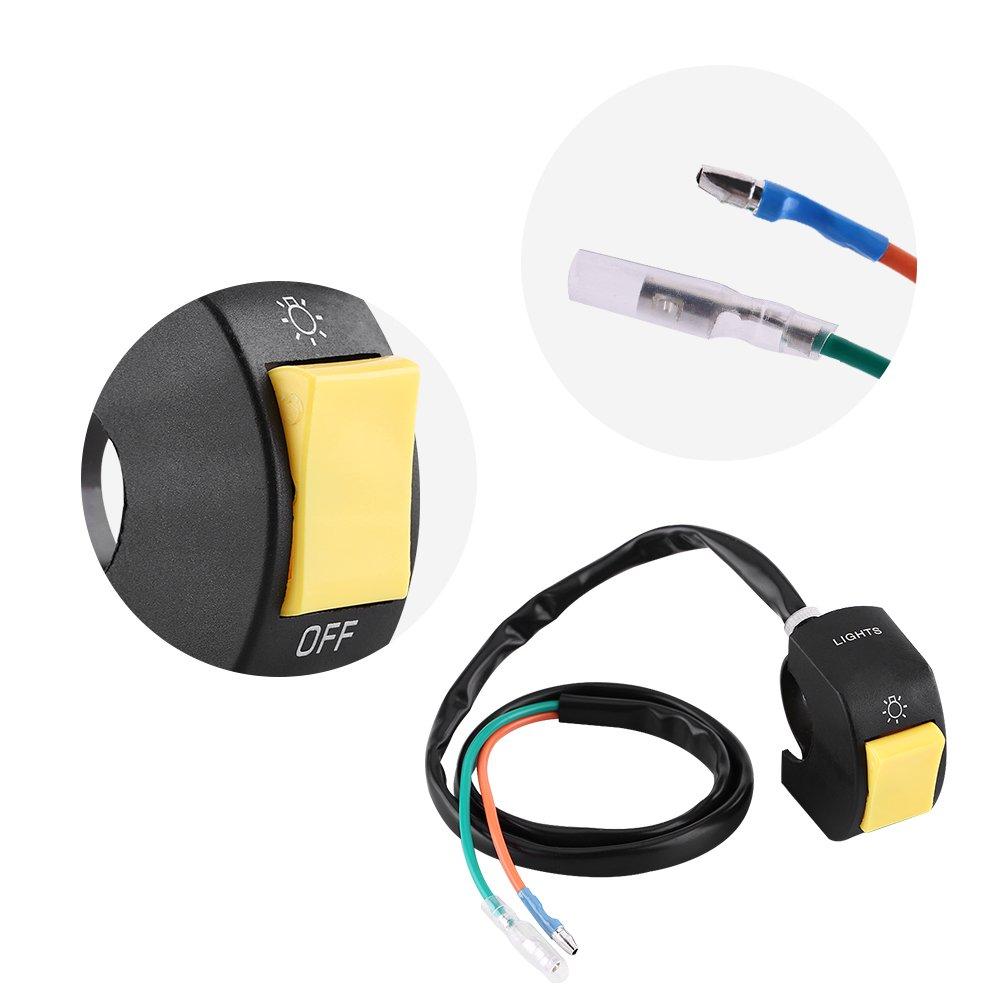 7inch a 7//8 pollici con pulsante interruttore universale on//off con LED per montaggio a LED da 10 Yellow Interruttore di montaggio su manubrio per motocicli