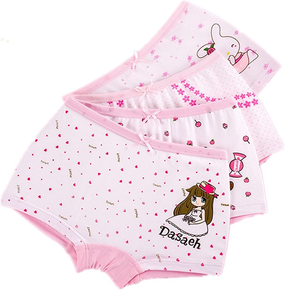 JIEYA 4pack or 6pack Baby Girls Cotton Underwear Princess Style Briefs Bloomers