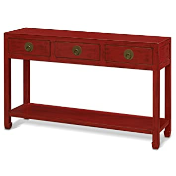 China Furniture Online Elmwood Console Table, 48 Inches Ming Style Cabinet  In Distressed Red Finish