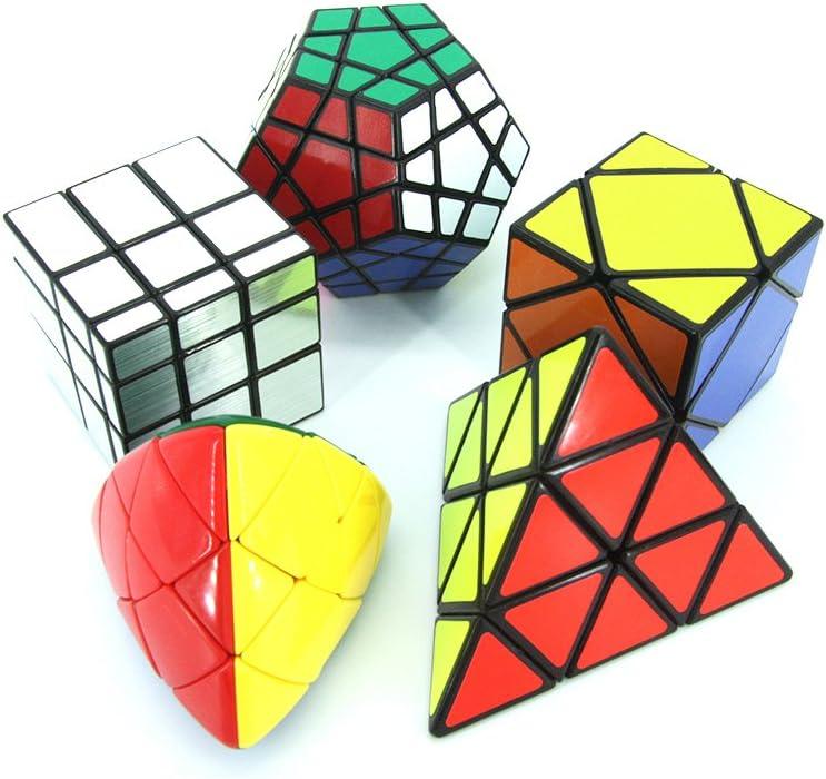 MZStech Magic Cube Puzzle Set aus Pyraminx, Meganminx, Skewb, Mastermorphix, 3x3 Spiegelwürfel - 5er Pack: Amazon.es: Juguetes y juegos