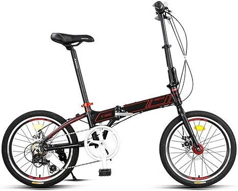 AOHMG Bicicleta Plegable Ciudad Adulto Bici Plegable, 7- velocidades Peso Ligero Marco Reforzado,Black_20in: Amazon.es: Deportes y aire libre