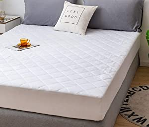 CC&DD HOME FASHION Quilted Fitted Mattress Pad/Mattress Topper - Mattress Cover Stretches up to 16 Inches Deep(White,Queen)