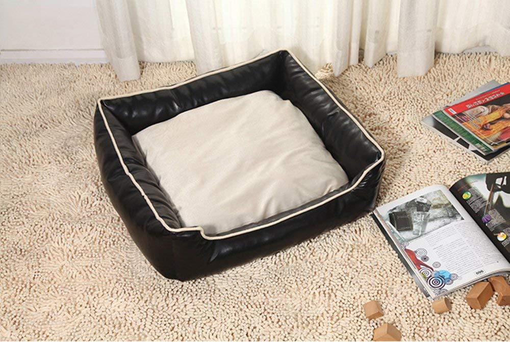 Black Large Black Large Pet Bed Pet Bed Waterproof PU Leather Kennel Removable and Washable Pet Nest Cushion,Black,M (color   Black, Size   Large)