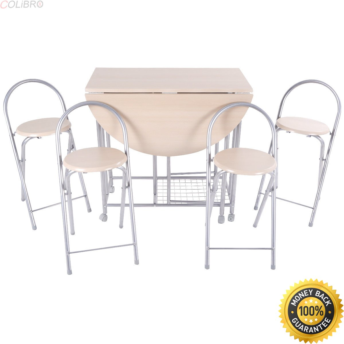 Colibrox 5pc foldable dining set table and 4 chairs breakfast kitchen furniture newround dining table for 4kitchen dinette sets for salecheap kitchen
