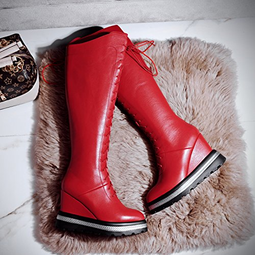 Martin Red Womens Simple Pointed Vamp Toe Knee Style Boots high Leather MINIVOG zPxdnUqBq