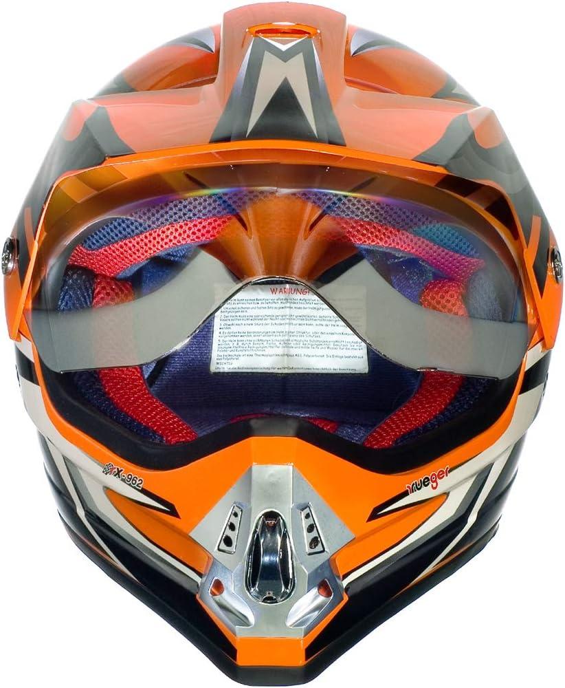 Gr/ö/ße:XS Farbe:Schwarz V//RCK RX-962 Crosshelm Quad Cross Enduro Motocross Offroad Helm rueger 53-54