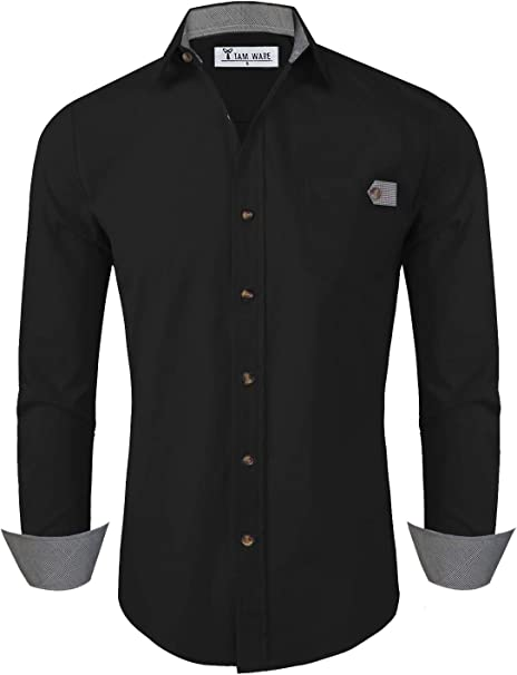 Yusky Mens Contrast Long-Sleeve Buttoned Plus Size Shirts