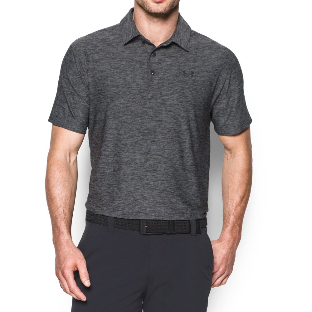 Under Armour Men's Playoff Polo, Carbon Heather/Black, XX-Large