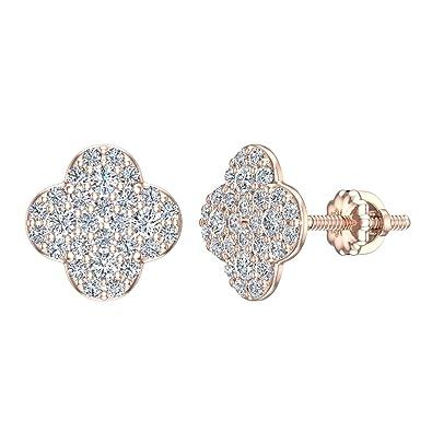 23ebd9ebbbbd0 Amazon.com: 14K Diamond Earrings Lucky Charm Clover Pave Studs Rose ...