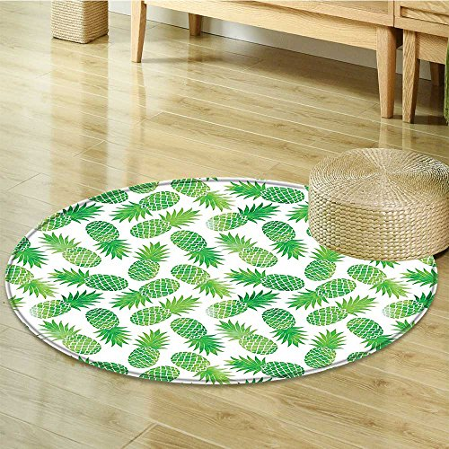 Small round rug Carpet Scattered Pineapples in Directions on Plain Print Green White door mat indoors Bathroom Mats Non Slip-Round 47