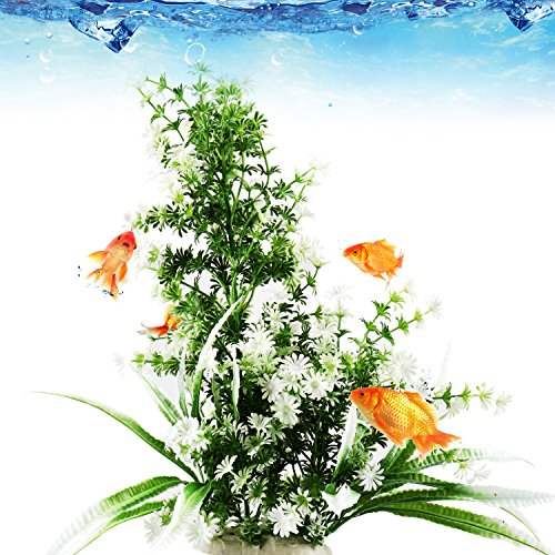 Tacobear 15 Inch Aquarium Decor Artificial Plastic Plant Green Aquarium Fish Tank Underwater Plant Non-toxic & Safe for all Fish & Pets by Tacobear