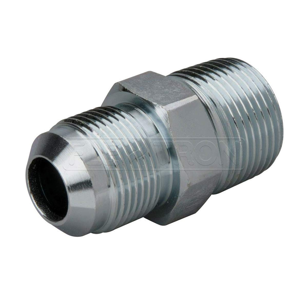 Flextron FTGF-58M34 Gas Connector Adpater Fitting with 5/8 Inch Outer Diameter Flare Thread x 3/4 Inch MIP (TAPPED 1/2 Inch), Uncoated Stainless Steel, for Range & Furnace Gas Connectors