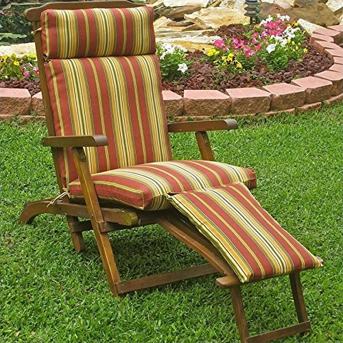 - Blazing Needles Patio Steam Lounger Cushion in Print-Kingsley Stripe Ruby - Kingsley Stripe Ruby