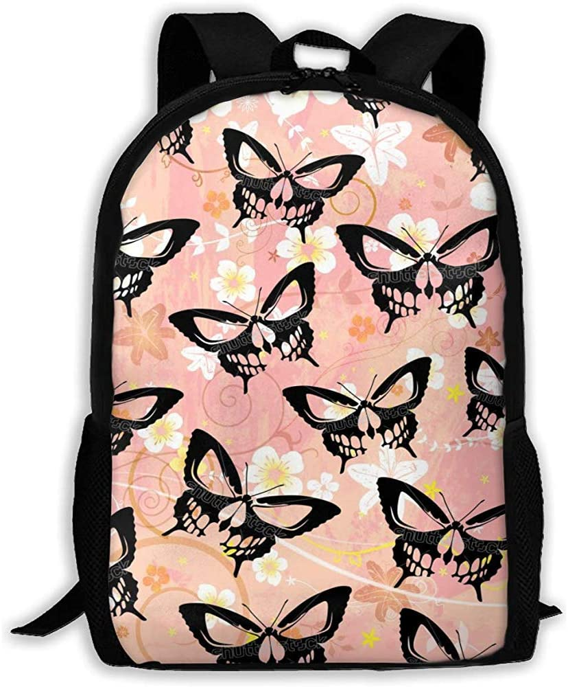 Casual School Bag Stock Vector Butterfly Skull Graphic Design Backpack Women 3D Print Daypacks para Hombres