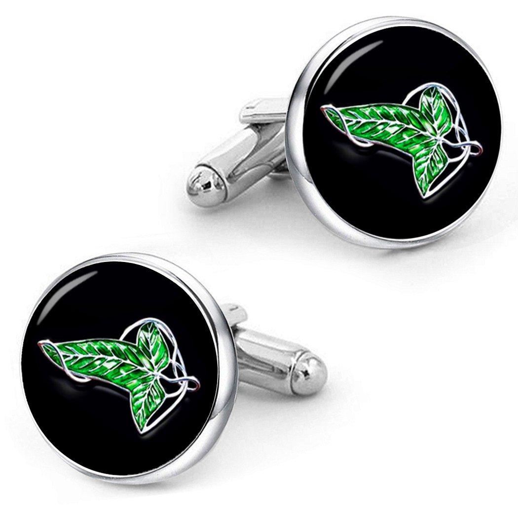 Kooer Elven Leaf Cufflinks Custom Personalized Cuff Links Handmade Wedding Cufflinks Jewelry Set (cufflinks)
