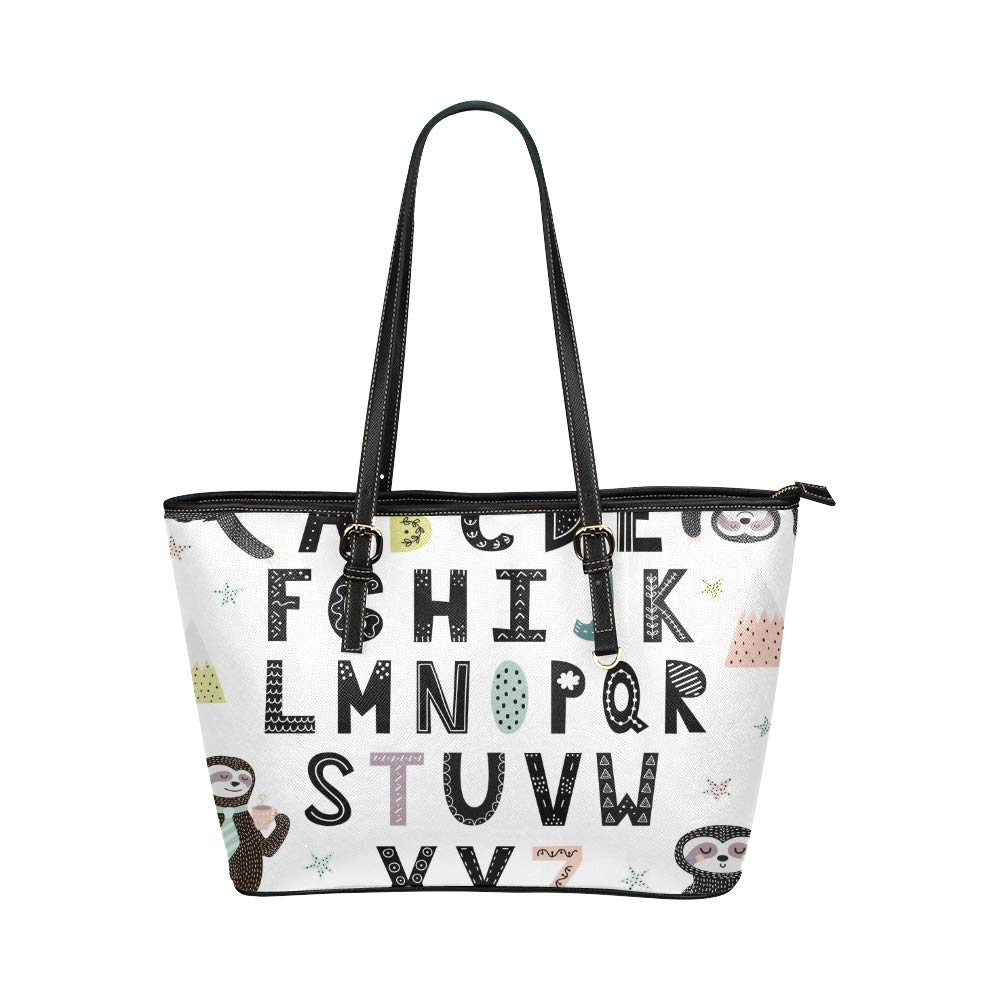 Cute Alphabet A-z For Children Basic Learning Large Soft Leather Portable Top Handle Hand Totes Bags Causal Handbags With Zipper Shoulder Shopping Purse Luggage Organizer For Lady Girls Womens Work