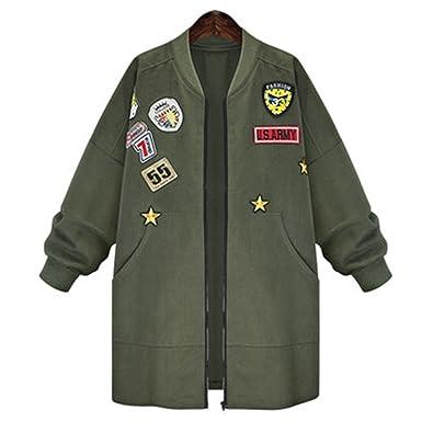 Amazon.com  Dorathywatm Women Military Badges Bomber Jacket Long Coats Army  Green Plus size XL- 5XL  Clothing 2ab4ff8509