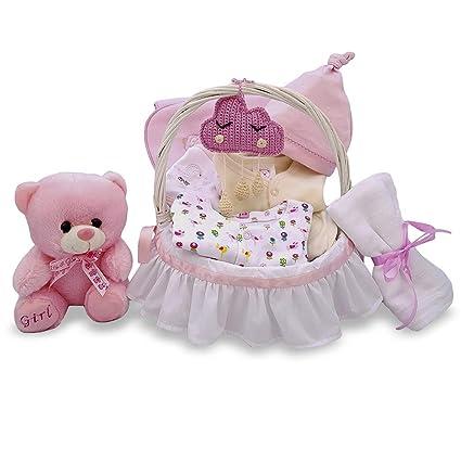 Cesta regalo para bebé recién nacido niña blanco y rosa artesanal ...