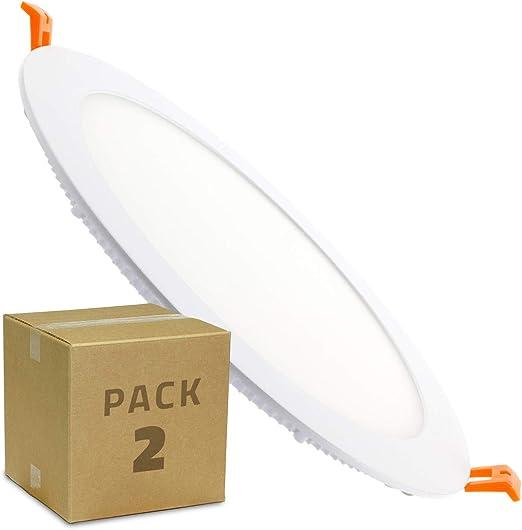 LEDKIA LIGHTING Pack Placas LED Circular SuperSlim 18W (2 un) Blanco Neutro 4000K - 4500K: Amazon.es: Iluminación