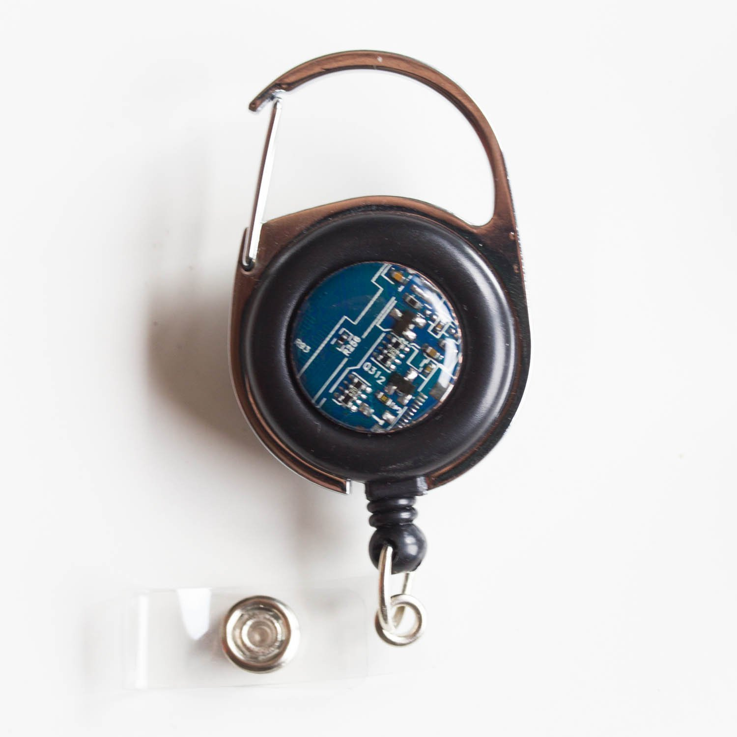 recycled blue Circuit board Retractable badge holder Handmade ...