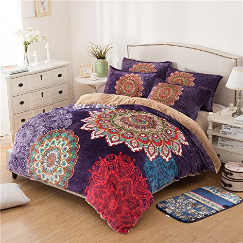 Luxury 4-Piece Printed Bohemian Flannel Bedding Set Boho Duvet Cover Set
