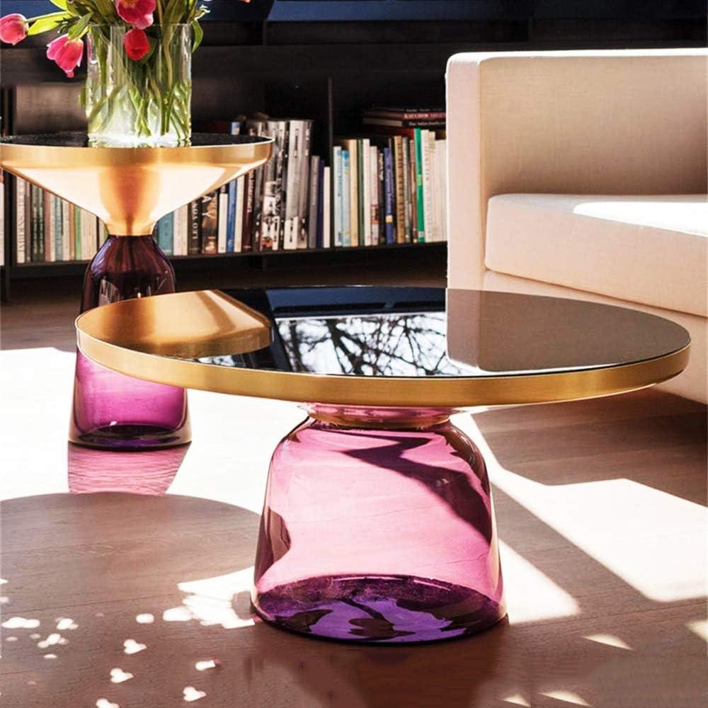 Krijgen ZRRtables 2-delige set glazen tafel salontafel modern woonkamertafel ronde bijzettafel mini salontafel met metalen frame van messing voor thuis, woonkamer, eetkamer D kijPbCa