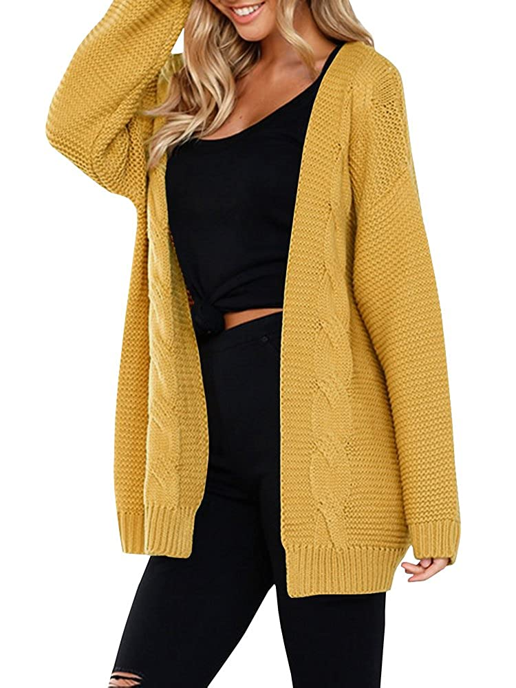 Yellow JOYCHEER Womens Sweaters Oversized Open Front Boyfriend Cable Knit Chunky Cardigans Coat