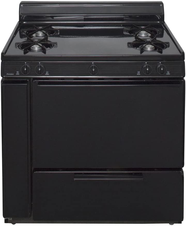 """BLK100BP ADA Compliant Black 36"""""""" Cordless Battery Spark Gas Range with 3.9 Cu. Ft. Capacity Four Cooktop Burners 4"""""""" Porcelain Lift Up Top and 17 000 BTU Oven Burner For Natural or L.P. Gas"""