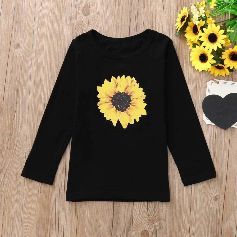 Zerototens Toddler Baby Girls Long Sleeves Black Sunflower Print Top T-Shirt Kids Clothes Autumn Spring Pullover Sweatshirt for 1-6 Years Old Children Basic Tops