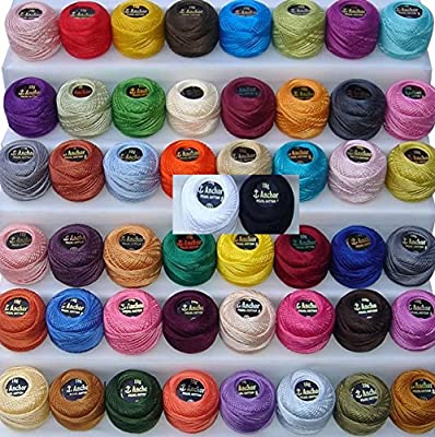 Anchor - Ovillos de algodón perlado, 50 unidades Tamaño 8 (85 ...