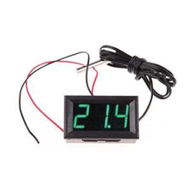 Digitales Temperaturmessgerät mit LED-Display, 12 V, 50 - + 110 Grad Celsius Thermometer Sensor, grün