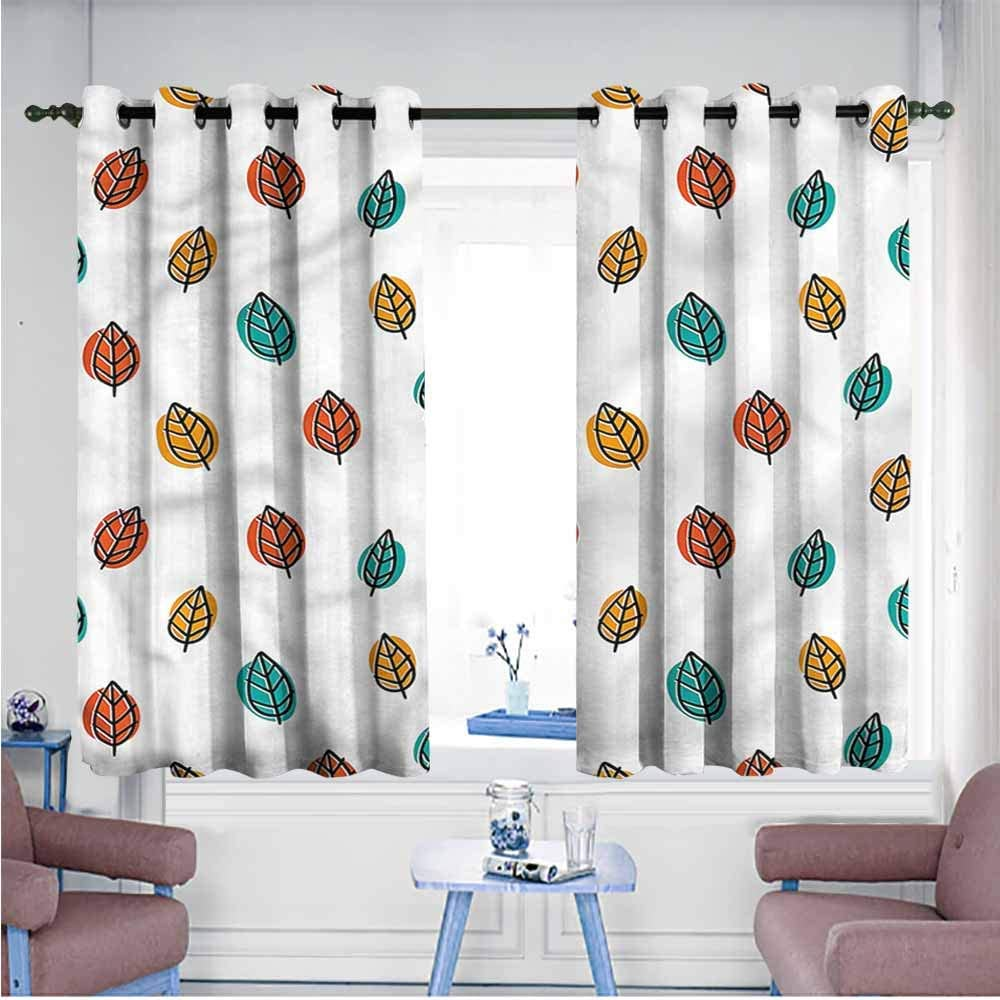 VIVIDX Nature Curtains Home Curtains Falling Autumn Leaves Doodle Darkening Thermal Insulated Blackout,W72x63L 61AF0wjWqhL