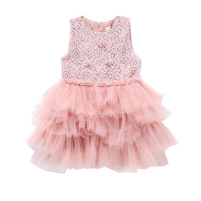 ASHOP - Vestidos niña de Princesa 2019 - Tutú Faldas de Fiesta - Sólido Punto Hilo de Red Casual Vestido de Verano - 1-6 Años: Amazon.es: Ropa y accesorios