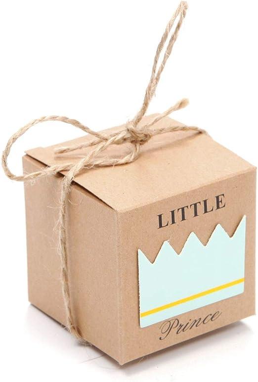 Caja Cajita de Cartón para Regalo Caramelos en Boda Fiesta Cumpleaños Modelo de Prince Pincesa (Prince&50pcs ...