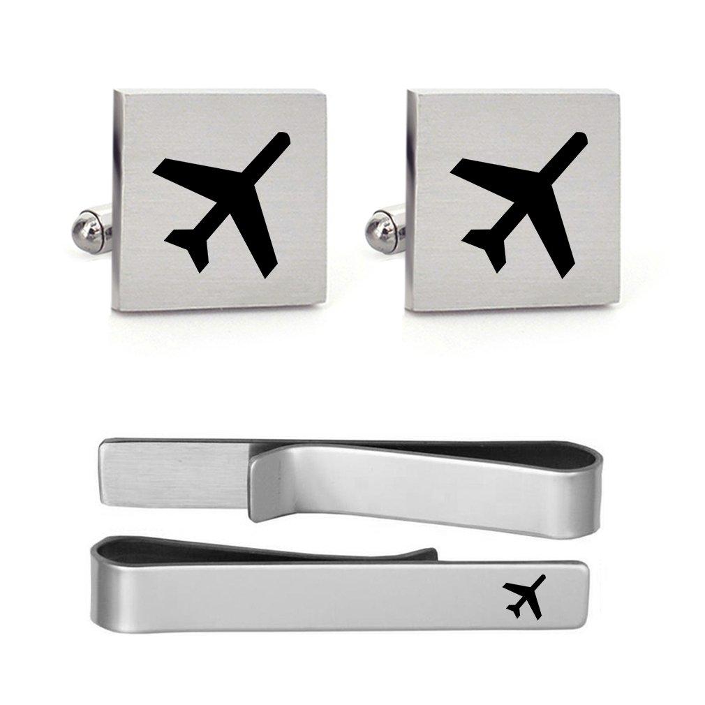 MUEEU Airplane Plane Cufflink Tie Clip Engraved Wedding Birthday Anniversaty Party Groomsman Groom Gift