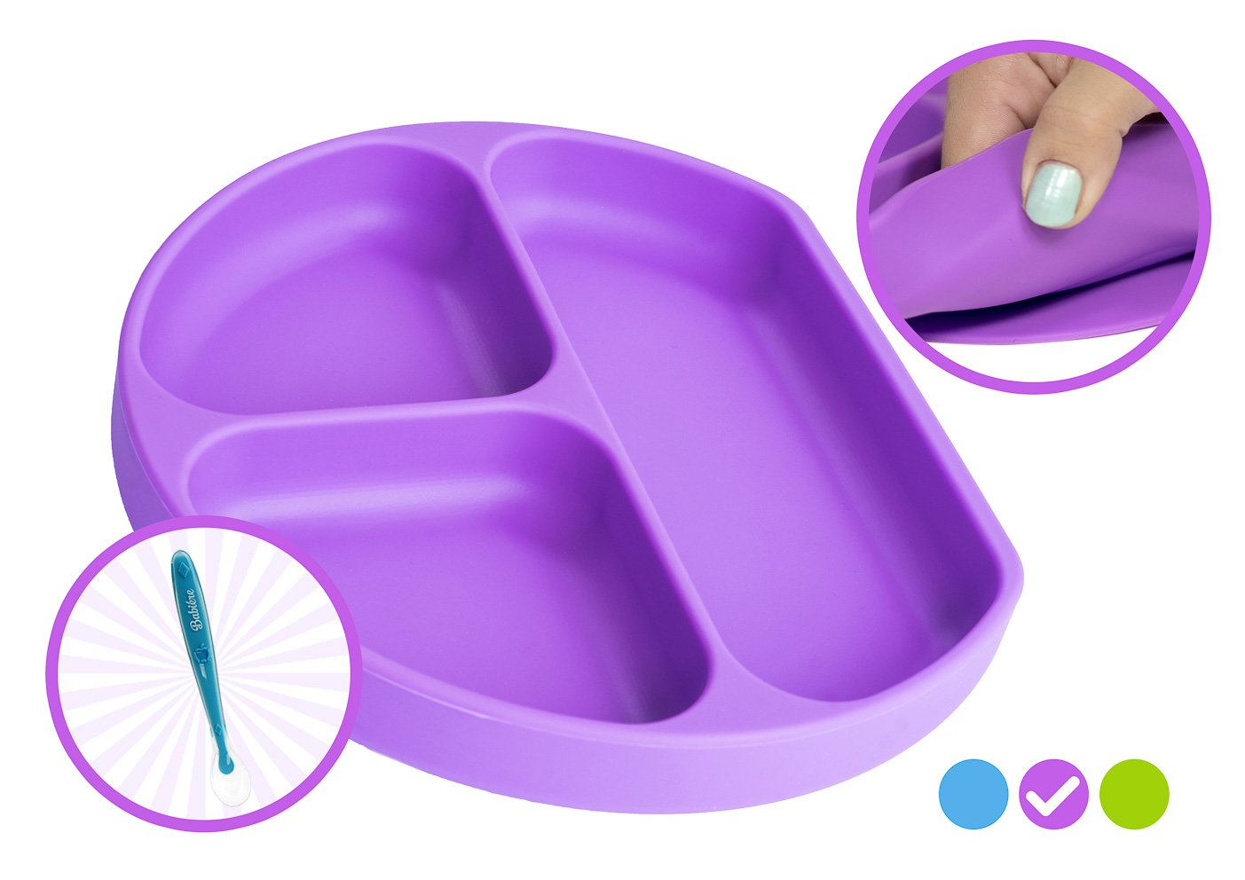Babiere Silicone Toddler Plate – Powerful Suction Base Stays Put to Highchair – Grip Dish with Divided Sections – BPA & Toxin Free, Microwave & Freezer Safe – Free Silicone Baby Spoon – Purple