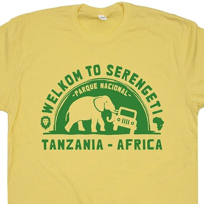 2752e825dc54 S - Serengeti National Park T Shirt Jeep 4x4 Tanzania Africa Tee Elephant  Vintage Zoo Safari