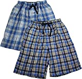 Hanes Mens 2 Pack Cotton Blend Woven Plaid Lounge Pajama Sleep Short, Navy, Blue 40238-Small