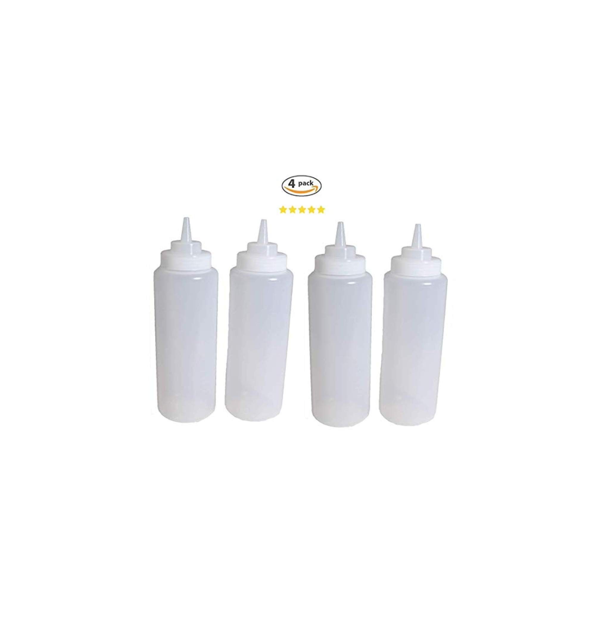 4 Plastic Squeeze Bottles. Clear Condiment Bottles. Ketchup. Mustard, Oil Squeeze Bottle. BBQ Grill Kitchen Cookout Storage Squeeze Bottles.