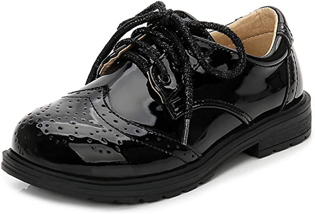 Je-Gou Boys Girls Patent Leather Lace Up Oxfords Comfort Uniform Dress Wedding Shoes