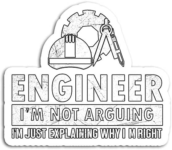 Hand Wooden Customizable Sticker Cute Engineer Not Arguing Funny Engineering Stickers for Personalize (3 pcs/Pack)