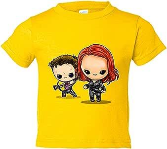 Camiseta niño Chibi Kawaii Viuda Negra y Ojo de Halcon parodia - Amarillo, 3-4 años: Amazon.es: Bebé